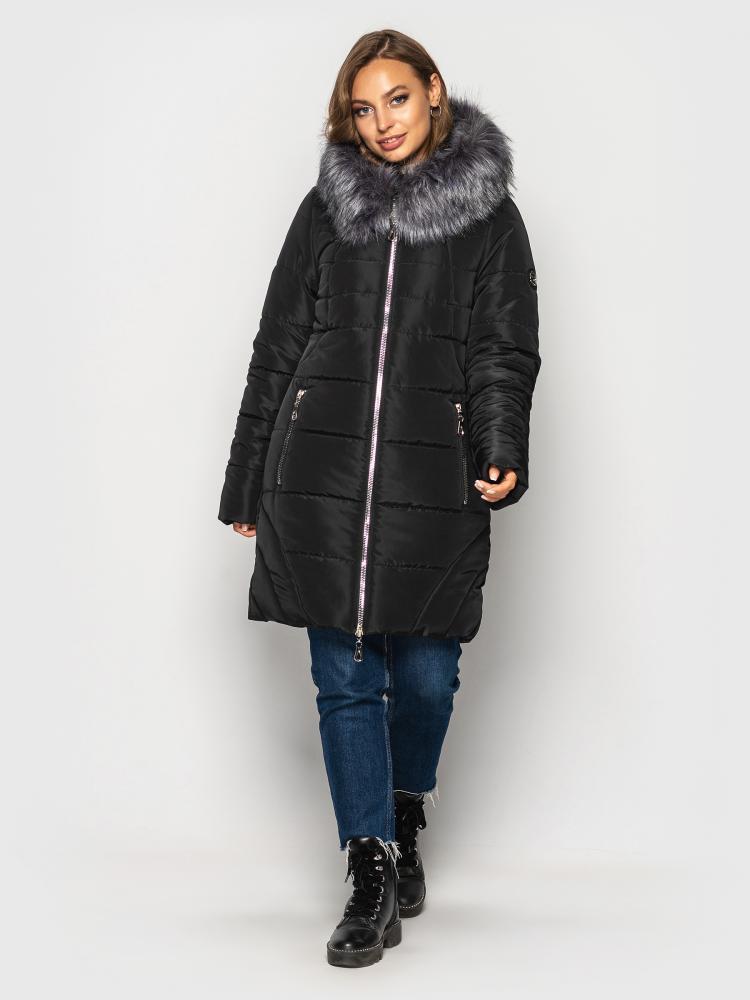 Теплая зимняя куртка женская с мехом больших размеров черная