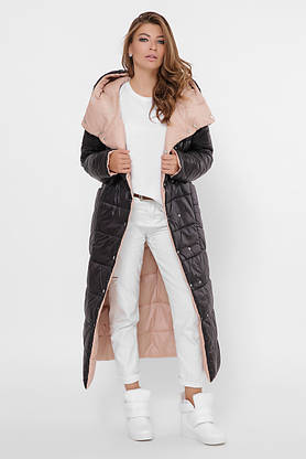 Зимний пуховик женский длинный двухсторонний черный-пудра, фото 2