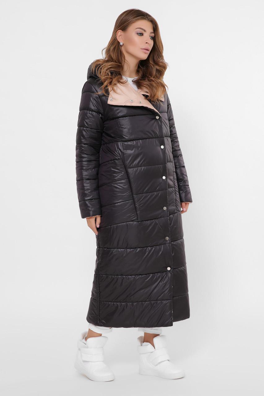 Зимний пуховик женский длинный двухсторонний черный-пудра