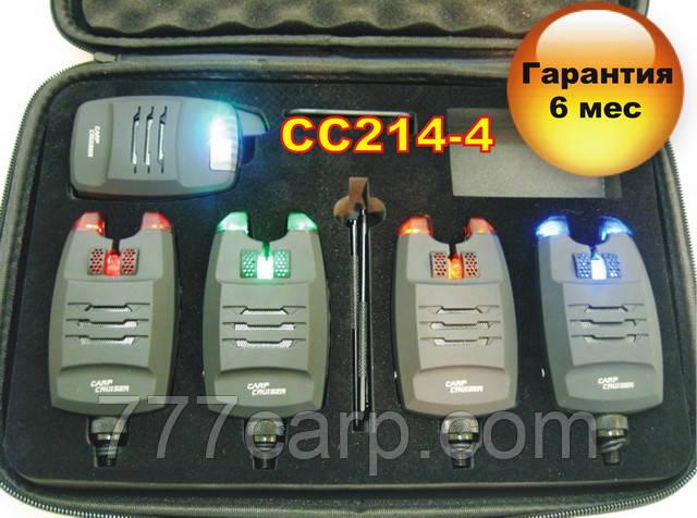 CarpСruiser FA214-4 Набор Электронных Беспроводных Сигнализаторов Поклевки с системой анти вор,радио пейджером