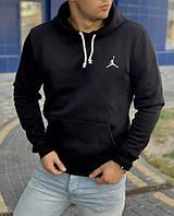 Черное базовое худи с флисом от спортивных брендов