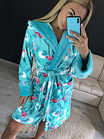 Теплый женский халат до колен, фото 1
