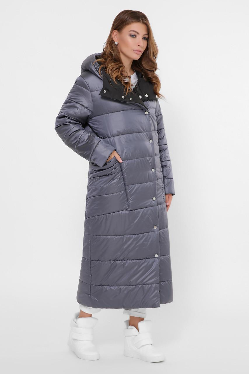 Зимний пуховик женский длинный двухсторонний темно-серый
