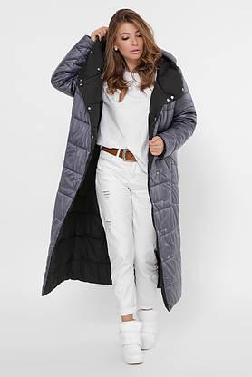 Зимний пуховик женский длинный двухсторонний темно-серый, фото 2