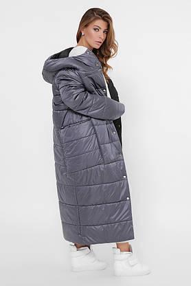 Зимний пуховик женский длинный двухсторонний темно-серый, фото 3