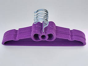 Плічка флоковані (оксамитові, велюрові) фіолетового кольору, довжина 39,5 см, в упаковці 10 штук, фото 2