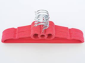 Плічка флоковані (оксамитові, велюрові) рожевого кольору, довжина 39,5 см, в упаковці 10 штук, фото 2
