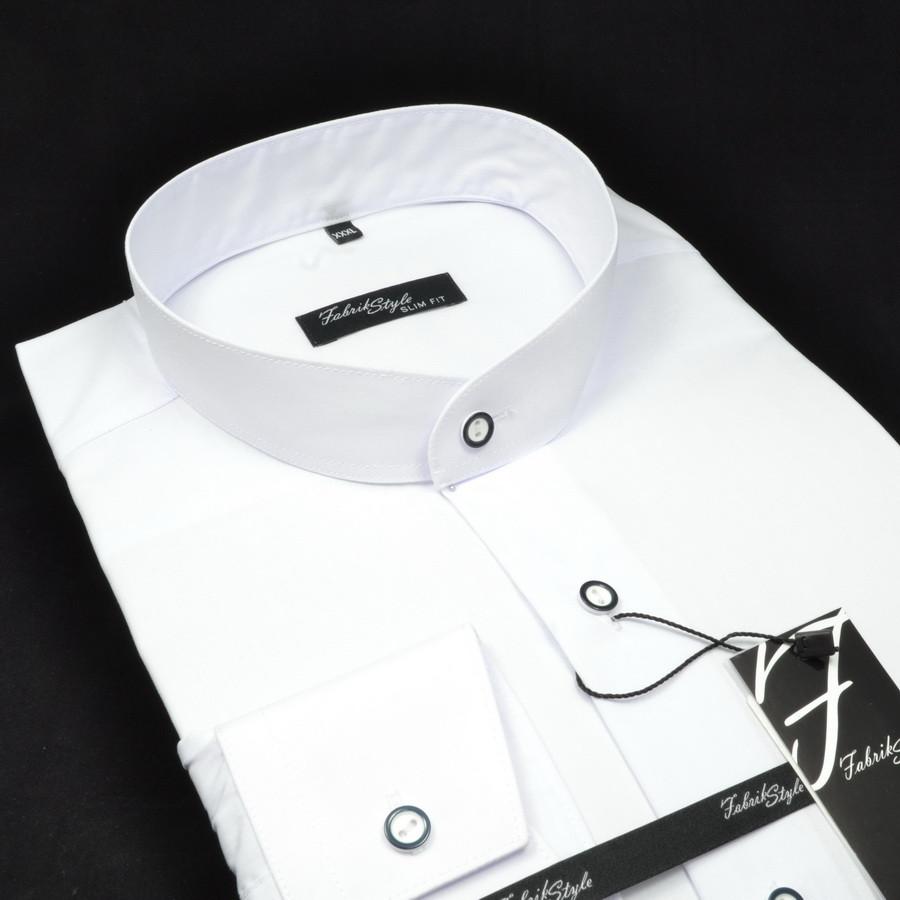 Сорочка чоловіча, приталена (Slim Fit), з довгим рукавом Fabrik Style СТІЙКА БІЛА 80% бавовна 20% поліестер M(Р)