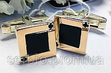 Серебряные запонки с золотом и черным цирконом Стив