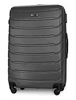 Большой чемодан 74х50х29 см 90л Fly 1107 пластиковый на 4 колесах Темно-серый