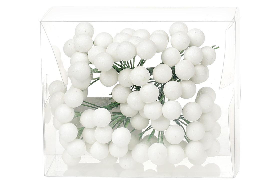 Набор декоративных ягод 12мм, 96шт, цвет - белый глитер BonaDi 147-103
