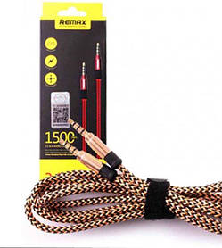 AUX кабель тканевый Remax Mini Jack 3.5 mm на 3.5 mm, 1,5 метра Золотистый
