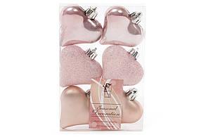 Набор елочных украшений Сердца 6см, цвет - розовый, 6 шт: перламутр, мат, глитер - по 2 шт BonaDi 147-211