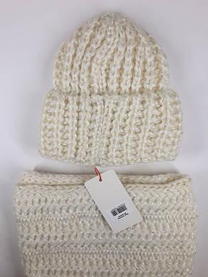 Комплект (шапка и снуд-хомут) Flirt Манго One Size молочный, фото 2