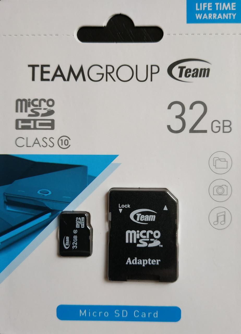 Карта памяти микро SDHC Team 32 гб класс 10 с адаптером