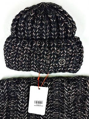 Комплект (шапка и снуд-хомут) Flirt Манго One Size черный-пудра, фото 2