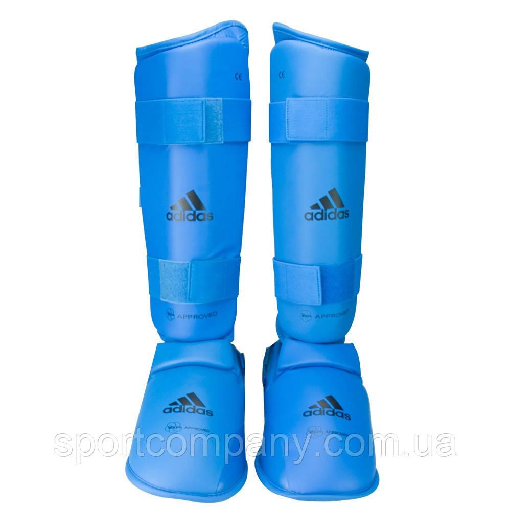 Защита голени и стопы Adidas с лицензией WKF синяя