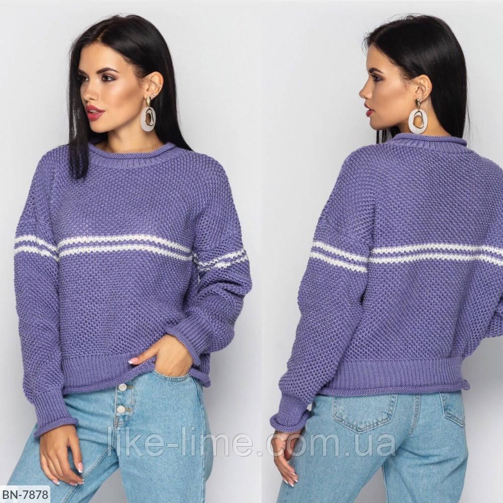 Стильний в'язаний светр з горизонтальною смужкою