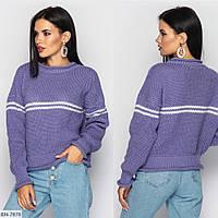 Стильный вязаный свитер с горизонтальной полоской, фото 1