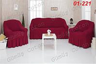 Чехлы на диван и 2 кресла CONCORDIA с оборкой 01-200
