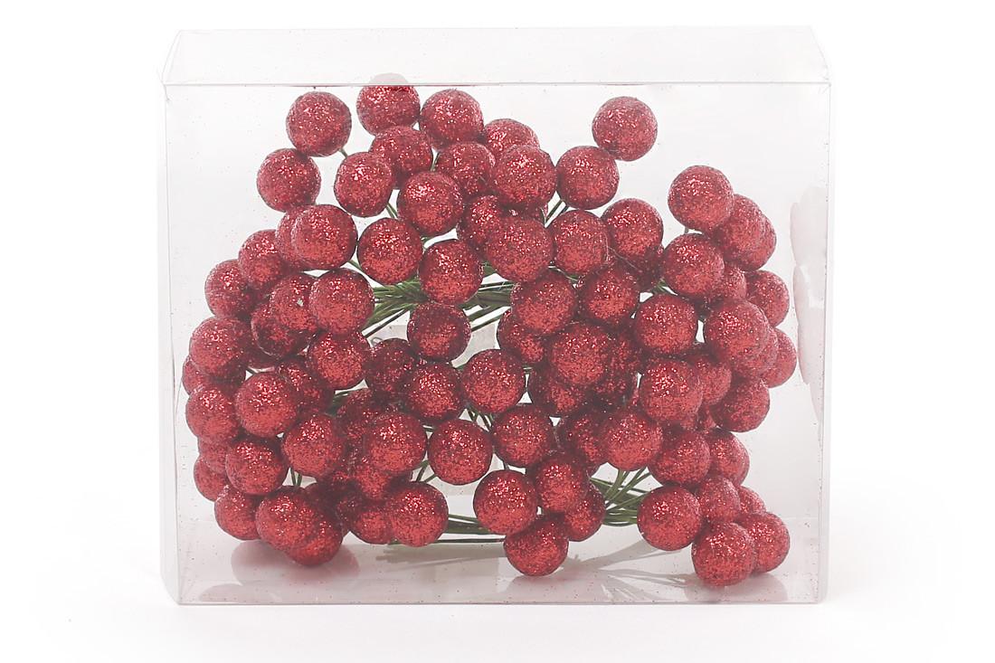 Набор декоративных ягод 12мм, 96шт, цвет - красный BonaDi 147-498