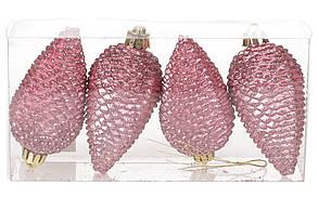 Набор шишек, 8см, цвет - розовый бархат, матовый с глитером, 4шт BonaDi 147-742