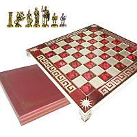 """Шахматы  """"Римляне"""" 32х32 Marinakis, красная доска, металлические"""