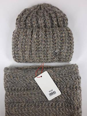 Комплект (шапка и снуд-хомут) Flirt Манго One Size бежевый, фото 2