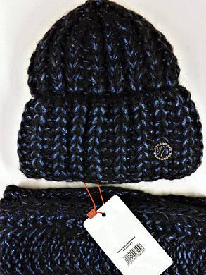 Комплект (шапка и снуд-хомут) Flirt Манго One Size черно-синий, фото 2