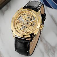 Механические часы с автоподзаводом Forsining Skeleton (black-gold) - гарантия 12 месяцев