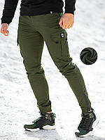 Зимние теплые карго штаны beZet (khaki), хаки карго штаны на зиму, теплые хаки карго штаны, фото 1
