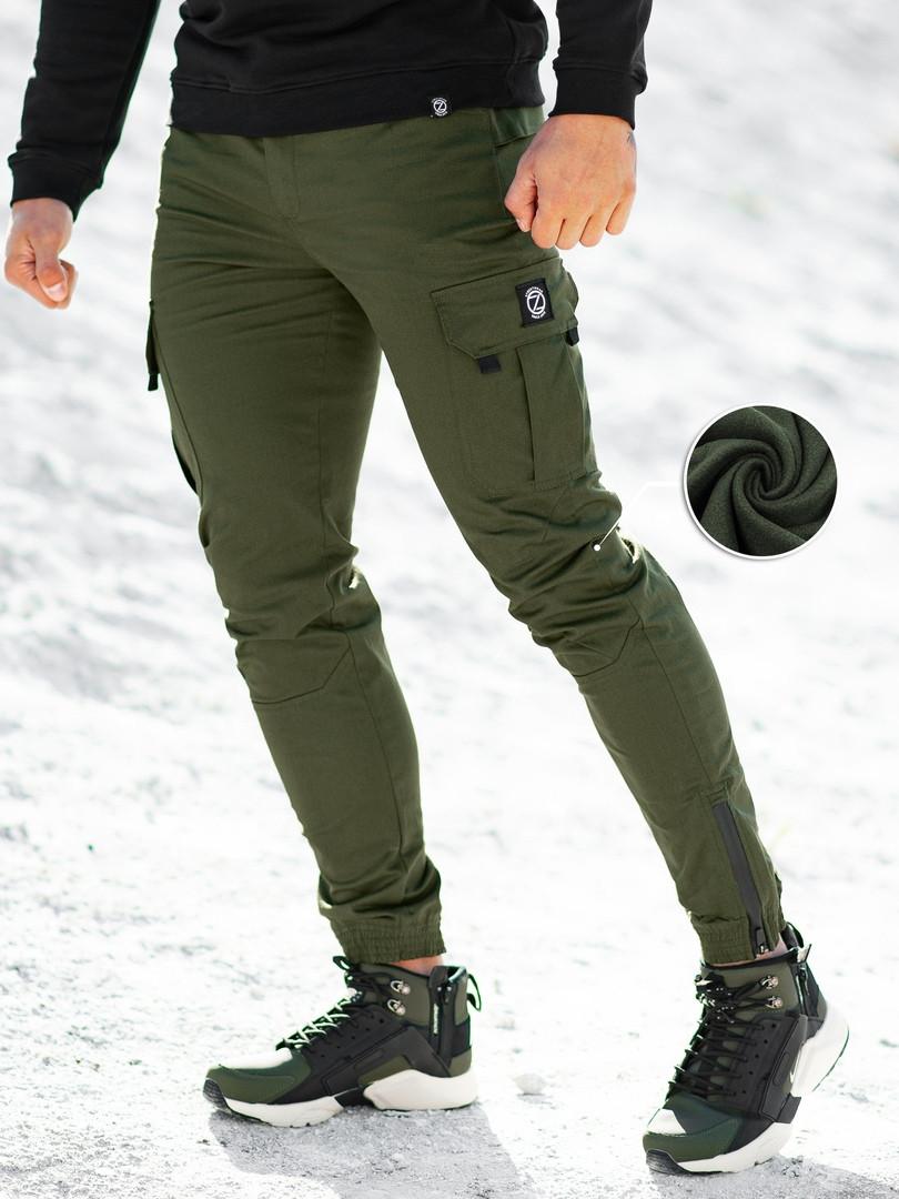 Зимние теплые карго штаны beZet (khaki), хаки карго штаны на зиму, теплые хаки карго штаны