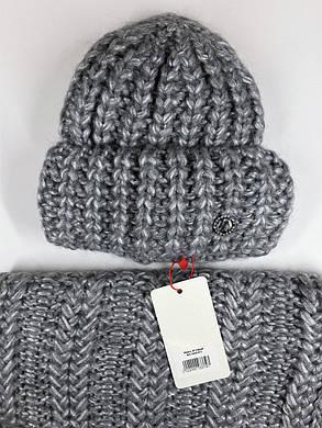 Комплект (шапка и снуд-хомут) Flirt Манго One Size серый, фото 2