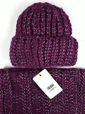 Комплект (шапка и снуд-хомут) Flirt Манго One Size марсала-бордо, фото 2