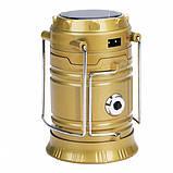 Кемпинговая LED лампа BL-5800T c POWER BANK Фонарь фонарик солнечная панель Золотой, фото 2