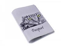 Интересная авторская обложка на паспорта из кожи ReD Кошечка