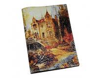 Интересная авторская обложка на паспорта из кожи ReD Осенний замок, кожа