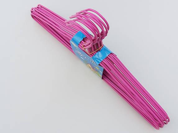 Плечики  тремпеля металлический в полиэтиленовом покрытии цвета фуксии, длина 39,5 см, в упаковке 10 штук, фото 2