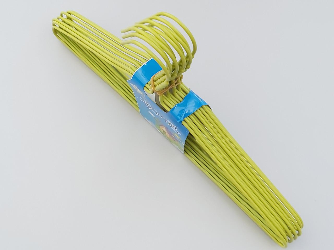 Плечики  тремпеля металлический в полиэтиленовом покрытии зеленого цвета, длина 39,5 см, в упаковке 10 штук