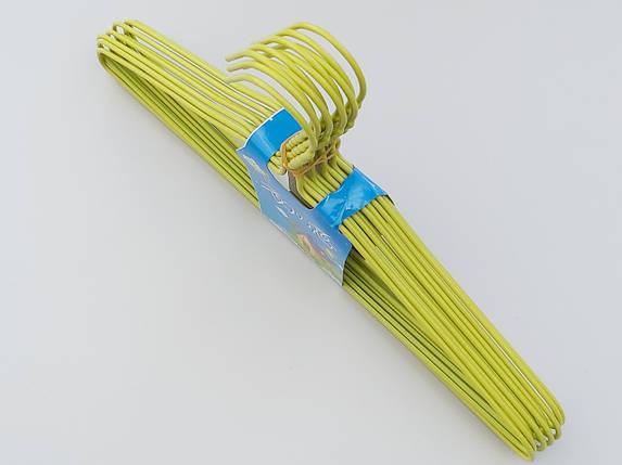 Плечики  тремпеля металлический в полиэтиленовом покрытии зеленого цвета, длина 39,5 см, в упаковке 10 штук, фото 2