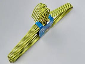 Плечики  тремпеля металлический в полиэтиленовом покрытии зеленого цвета, длина 39,5 см, в упаковке 10 штук, фото 3
