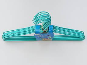 Плечики  тремпеля металлический в полиэтиленовом покрытии бирюзового цвета, длина 39,5 см, в упаковке 10 штук, фото 2