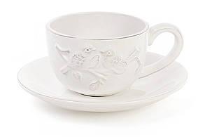 Чашка керамическая кофейная 200мл с блюдцем Птицы, цвет - белый BonaDi 545-283