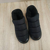 Короткие угги автоледи слипоны меховые низкие дутики не промокающие зимние теплые черные, фото 3