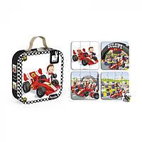 Детские пазлы, набор из 4 пазлов Автомобиль Габина Формула 1 Janod J02884