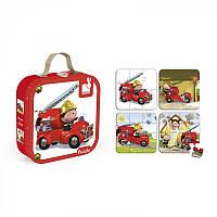 Детские пазлы, набор из 4 пазлов Лео и его пожарная машина Janod J02882