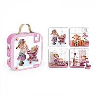 Детские пазлы, набор из 4 пазлов Лилу играет с куклами Janod J02881