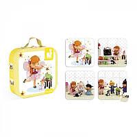 Пазлы для детей, набор из 4 пазлов Мила играет в фею Janod J02871