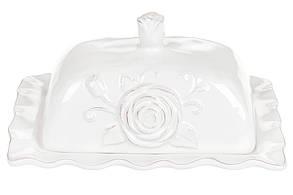 Масленка керамическая Аэлита, 19см, цвет - белый BonaDi 545-487