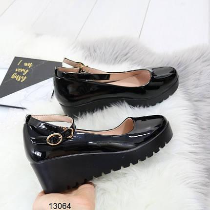 Туфли женские черные на платформе, фото 2
